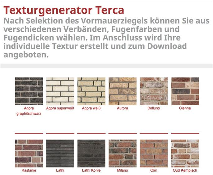 texturgenerator f r terca ziegel energie fachberater. Black Bedroom Furniture Sets. Home Design Ideas