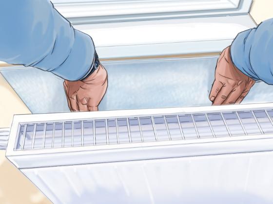 Sehr Isolierfolie an Fenster und Heizkörper mindert Wärmeverluste XS08