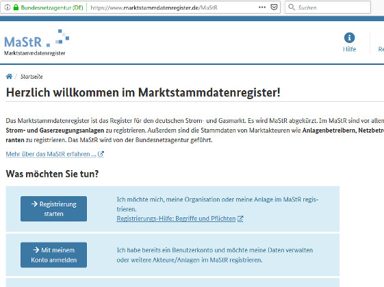 Screenshot Marktstammdatenregister